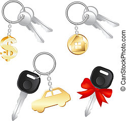 Set Of Keys With Charm In Form Of Dollar, Car And House,...