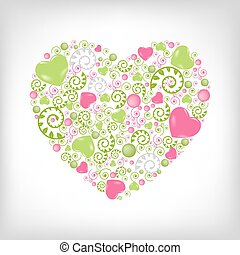 Heart Shape - Greeting Heart Shape, Isolated On Grey...