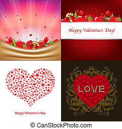 Valentines Day Card - 4 Greeting Card For Valentines Day,...