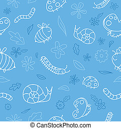 Insect cartoon background - Seamless background pattern of...