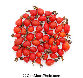 Rose hips - Heap of rose hips on white background