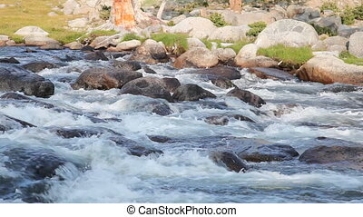 Rapid mountain river in Mongolian Altai Dayan