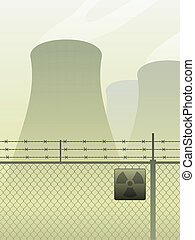 Cooling towers for a power plant behind a fence
