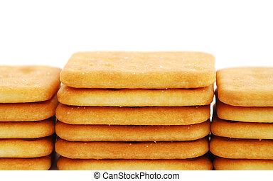 Cracker - Stacks of cracker isolated on white background