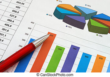 Finance report - Red pen on finance report
