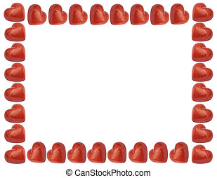 love frame with red hearts