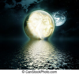 moonlight - moon over the sea - night landscape