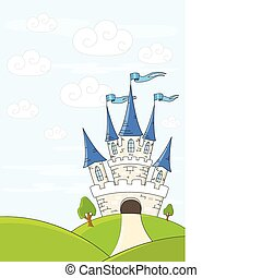 Fantasy castle on green hills