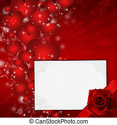 Red Valentine's day card with hearts and rose