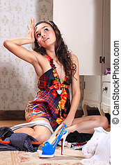 girl dont know what to wear - beautiful young woman dont...