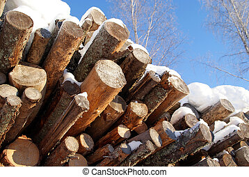 Logs for Wood Fuel in Winter - A pile of pine and spruce...