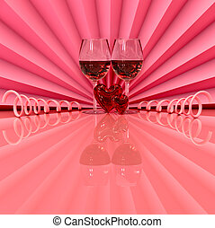 celebration of loves day - two wineglass with two hearts as...
