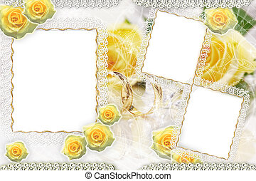 Background with frame and roses
