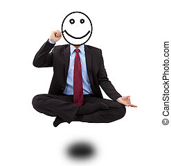 Business man in yoga lotus-pose and  drawing smiling face