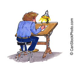 cartoonist 2 - A man sitting at a drawing table...