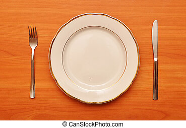empty plate with fork knife