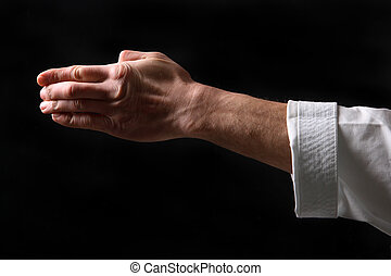 Fist. Hand fighter karate on the black background