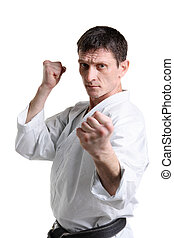 Karate Man in a kimono with a white background