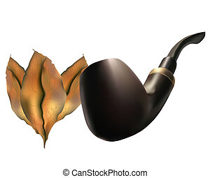 Pipe with tobacco leaves on a white background