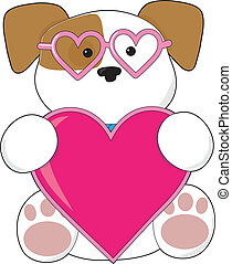 Puppy Love Sunglasses - A cute puppy holding a big pink...