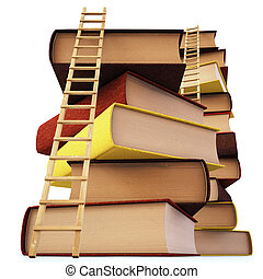 books - Wooden ladder standing near books pile. isolated on...