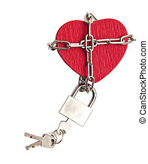 red heart locked with chain on white - love locked heart...