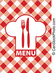 Menu Card - Red Gingham - Menu Cards With Sign, Chef Hat...