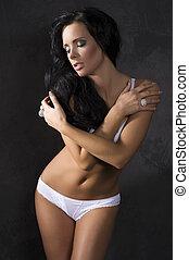 sensual girl in white underwear