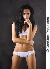 sensual woman in white underwear - sexy brunette girl with...
