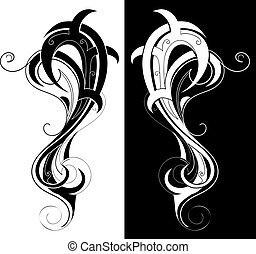 Tribal art illustration - Artistic shape created in tribal...