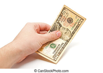 Hand holds a 10 dollar bill on white background