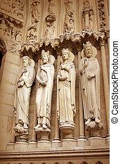 Detail of Notre dame de Paris - Cathedral Notre dame de...