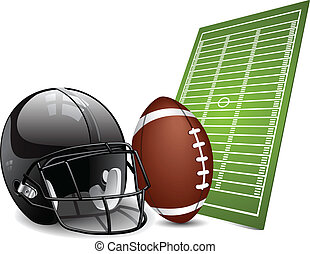 American football design elements - field, ball and football...