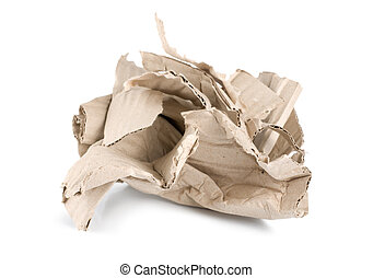 Crumpled cardboard isolated on a white background