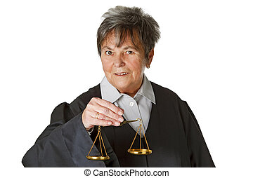 Balanced - Female lawyer wearing a black robe isolated on...
