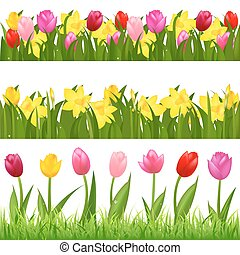 Flower Borders - 3 Flower Borders From Tulips And...