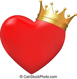 Heart In Crown, Isolated On White Background, Vector...