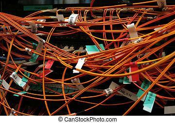 Fibre optic cables in a mess