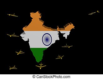 planes departing India map flag illustration