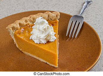 homemade pumpkin pie - one slice of homemade pumpkin pie...