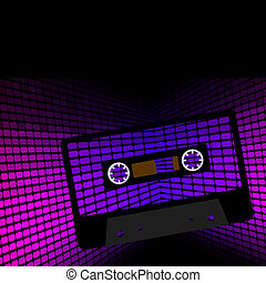Party Background - Retro Audio Casette Tape on Violet...