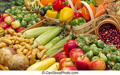 harvest foods - large harvest of fruits and vegetables