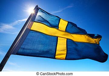 Sweden flag on dark blue sky background.