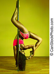 Young sexy woman - Young sexy pole dance woman. Vibrant...