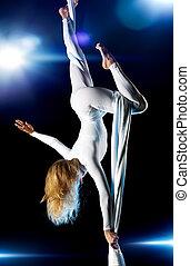 gimnasta, mujer, joven