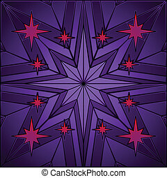 Stained glass star - Eight pointed purple star in stained...