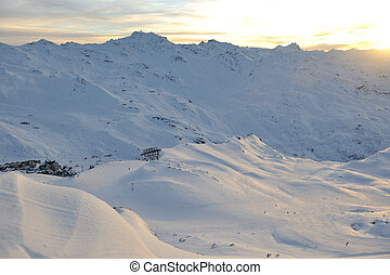 mountain snow sunset - mountain snow fresh sunset at ski...