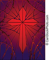Cross window with thorns - Cross and thorns rendered in...