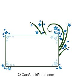 Flower frame - Floral frame decorated with blue...