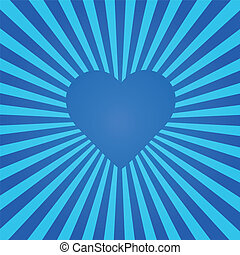 Blue Heart Sunburst